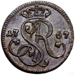 Grosz, 1767 G, Kraków; brak kropki po dacie, duże liter...
