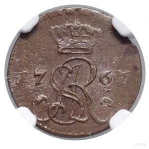 Półgrosz, 1767 G, Kraków; korona wysoko nad monogramem;...