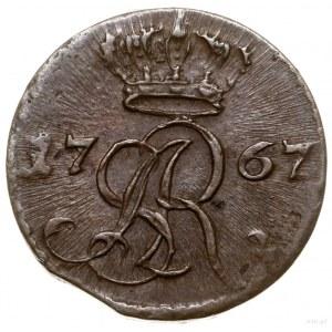 Szeląg, 1767 g, Kraków; duża korona nad monogramem; egz...