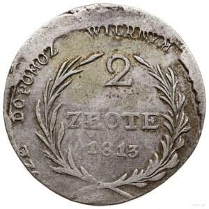 2 złote, 1813, Zamość; odmiana z dłuższymi gałązkami wi...