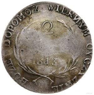 2 złote, 1813, Zamość; odmiana z krótkimi gałązkami wie...