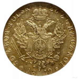 50 złotych, 1819, Warszawa; bardzo rzadka odmiana bez o...