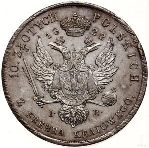 10 złotych, 1822, Warszawa; Aw: Głowa cara w prawo i na...