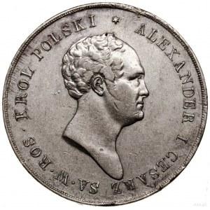 10 złotych, 1825, Warszawa; Aw: Głowa cara w prawo i le...
