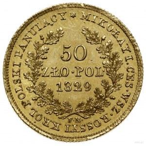 50 złotych 1829 FH, Warszawa; Głowa cara w prawo i napi...