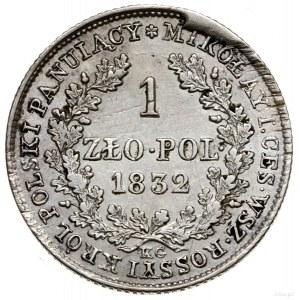 1 złoty, 1832, Warszawa; odmiana z mniejszą głową cara,...