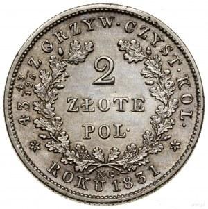 2 złote, 1831 KG, Warszawa; odmiana z kropką po POL i P...