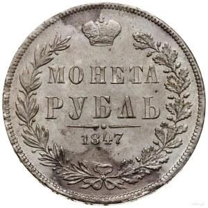 Rubel, 1847 MW, Warszawa; ogon Orła prosty, małe cyfry ...