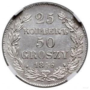 25 kopiejek = 50 groszy, 1846 MW, Warszawa; wariant z w...