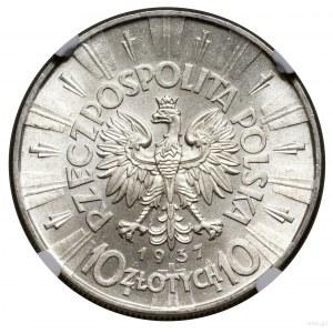 10 złotych, 1937, Warszawa; Józef Piłsudski; Kop. 3005,...
