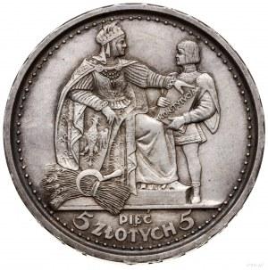 5 złotych, 1925, Warszawa; Konstytucja; Aw: Orzeł z kor...