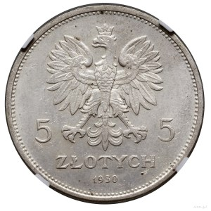 """5 złotych, 1930, Warszawa; """"Sztandar"""" – 100-lecie Powst..."""
