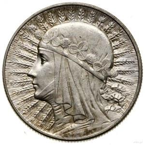 5 złotych, 1932, Warszawa; Głowa kobiety w czepcu, ze z...