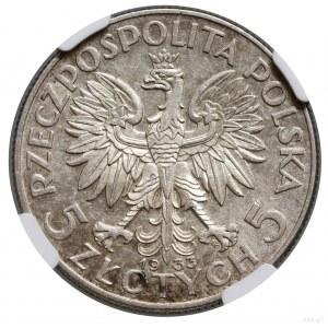 5 złotych, 1933, Warszawa; Głowa kobiety w czepcu; Kop....