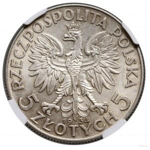 5 złotych, 1934, Warszawa; Głowa kobiety w czepcu; Kop....
