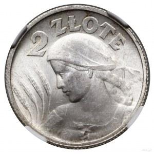 2 złote, 1924, Paryż; Popiersie kobiety z kłosami, odmi...