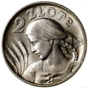 2 złote, 1925, Londyn; Popiersie kobiety z kłosami, odm...