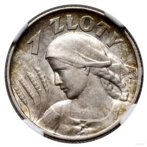 1 złoty, 1925, Londyn; Popiersie kobiety z kłosami; Kop...