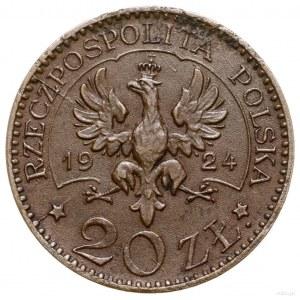 20 złotych, 1924, Warszawa; Aw: Orzeł, po jego bokach d...
