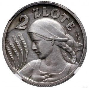 2 złote, 1927, Warszawa; popiersie kobiety z kłosami, n...