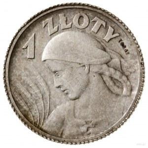 1 złoty, 1924, Paryż; Popiersie kobiety z kłosami, na r...