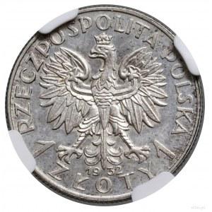 1 złoty, 1932, Warszawa; Głowa kobiety w czepcu w lewo,...