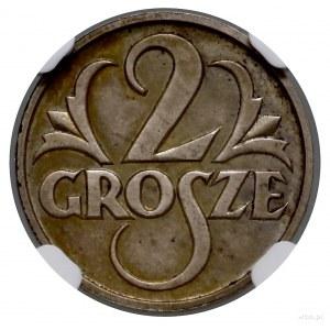 2 grosze, 1927, Warszawa; moneta obiegowa ale wybita w ...