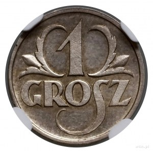 1 grosz, 1927, Warszawa; moneta obiegowa, ale wybita w ...
