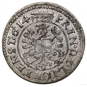 3 krajcary, 1614 BH, Opawa; Orzeł na rewersie; E.-M. 12...