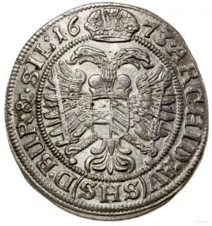 6 krajcarów, 1673, Wrocław; na awersie LEOPOLDUS w lege...