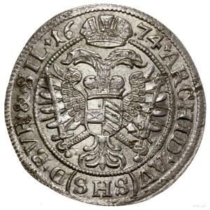 6 krajcarów, 1674, Wrocław; interpunkcja w formie krzyż...