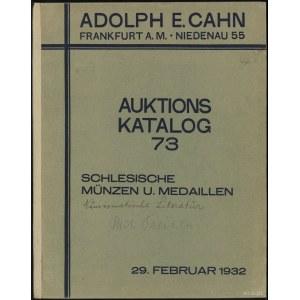 """Katalog aukcyjny Adolph E. Cahn """"Sammlung schlesischer ..."""