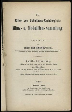 """Katalog aukcyjny Julius und Albert Erbstein """"Die Ritter..."""