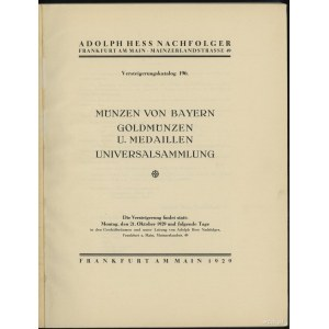 """Katalog aukcyjny Adolph Hess Nachfolger """"Münzen von Bay..."""