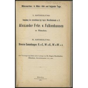 "Katalog aukcyjny Dr. Eugen Merzbacher ""Sammlung des Ale..."