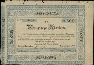 Asygnacja skarbowa na 500 złotych, 1831; numeracja 4135...