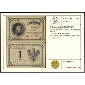 1 złoty, 28.02.1919; seria 21 I, numeracja 045351; Luco...