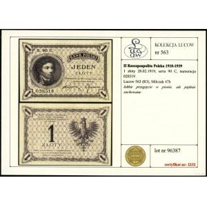 1 złoty, 28.02.1919; seria 90 C, numeracja 020519; Luco...