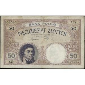 50 złotych, 28.02.1919; seria A.25, numeracja 059585; L...