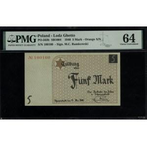 5 marek, 15.05.1940; numeracja 100100 w kolorze pomarań...