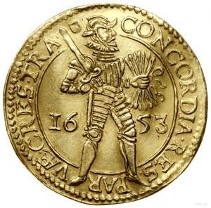 Dwudukat, 1653, Utrecht; Aw: W obwódce perełkowej rycer...
