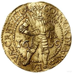 Dwudukat, 1659; Aw: W obwódce perełkowej rycerz stojący...