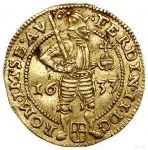 Dukat, 1633; Aw: Cesarz stojący w prawo, trzymający mie...