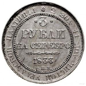 "3 ruble ""na srebro"", 1833 СПБ, Petersburg; Bitkin 79 (R..."