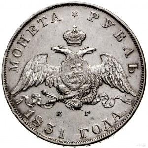 Rubel, 1831 СПБ НГ, Petersburg; na rewersie w 21 ДОЛЯ c...