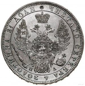 Rubel, 1850 СПБ ПА, Petersburg; św. Jerzy bez płaszcza;...