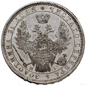 Rubel, 1854 СПБ HI, Petersburg; w wieńcu 7 gałązek laur...