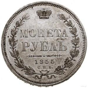 Rubel, 1855 СПБ HI, Petersburg; Adrianov 1855, Bitkin 2...