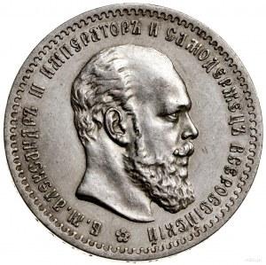 Rubel, 1888 (А•Г), Petersburg; mała głowa władcy, z kró...