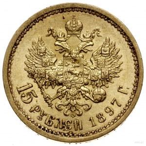 15 rubli, 1897 (A•Г), Petersburg; Bitkin 2, Fr. 177, Ka...